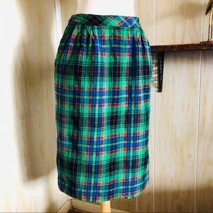 Vintage Holiday Wool Plaid Midi Skirt